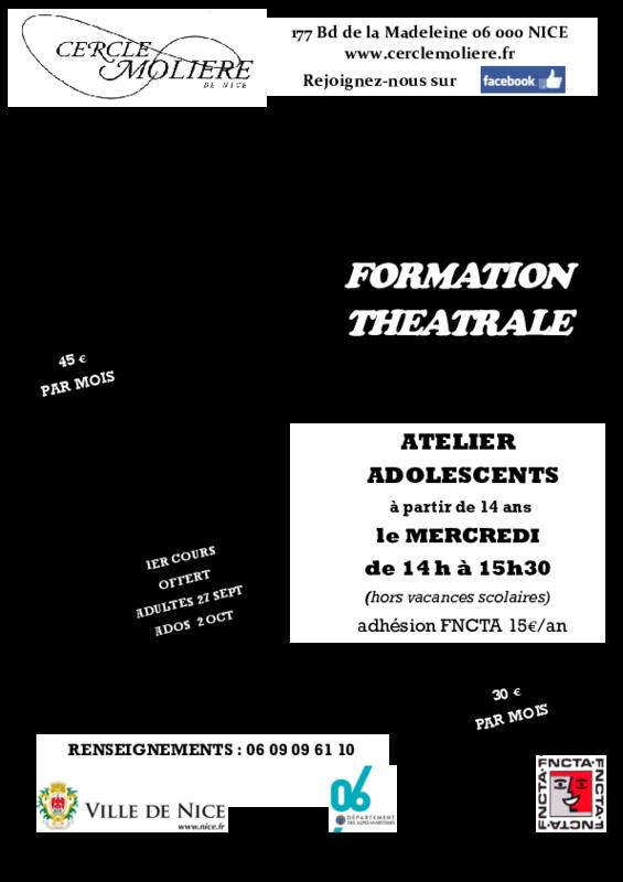 Illustration pour l'actualité Cours de Théâtre saison 2019/2020